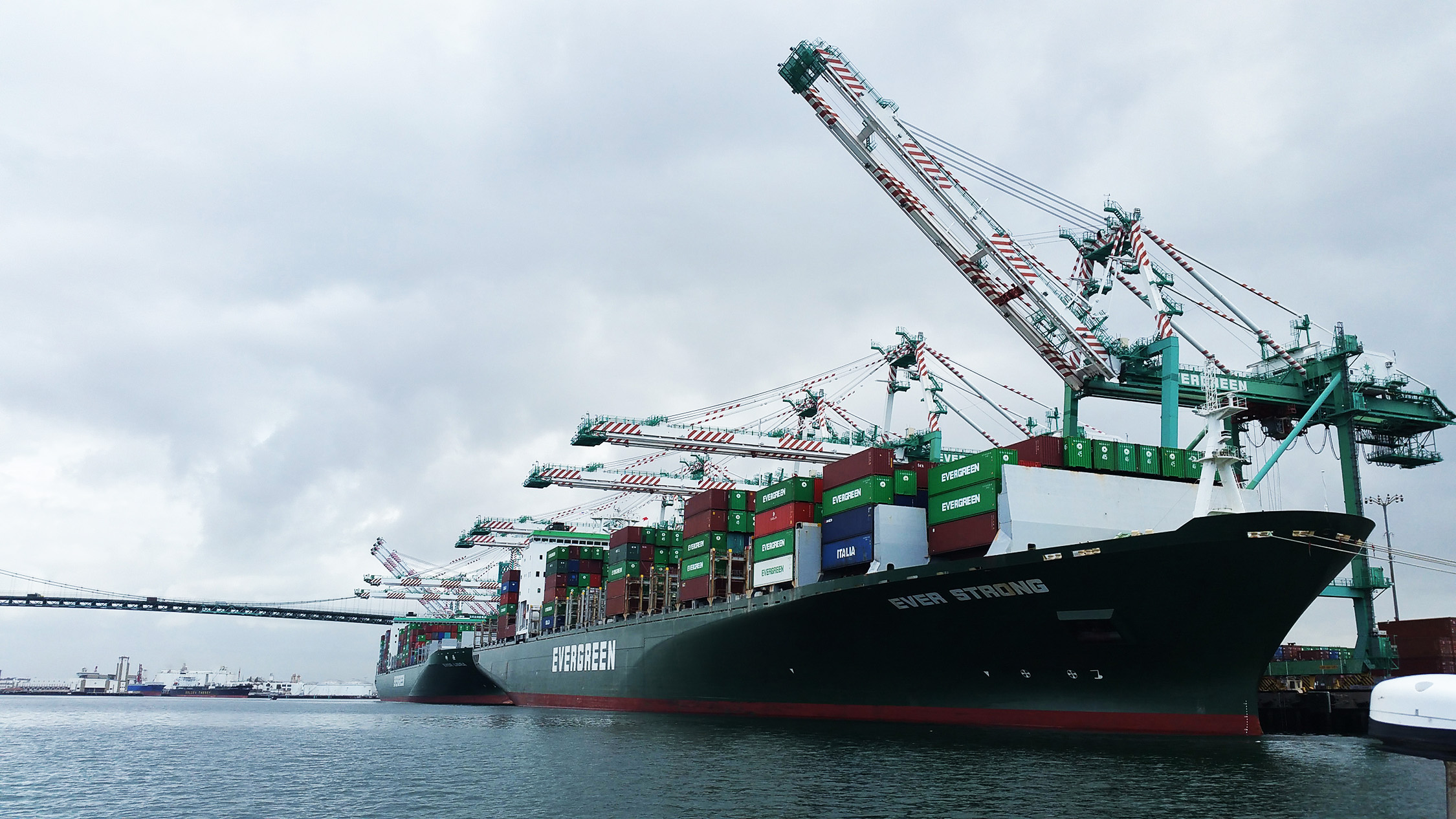 Cargo ship and cranes in the Port of Los Angeles